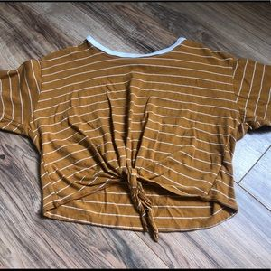 mustard striped forever 21 tie front top
